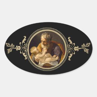 St. Joseph & Baby Jesus Oval Sticker