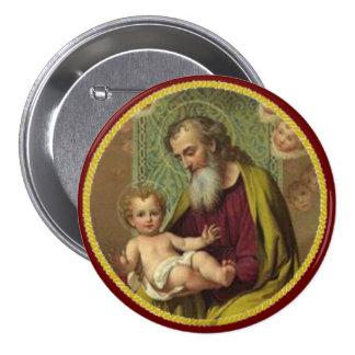 St. Joseph & Child Jesus 7.5 Cm Round Badge