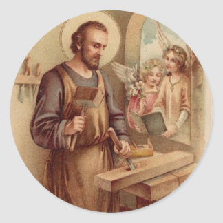 St. Joseph, Child Jesus, Angels Tools Bench Classic Round Sticker