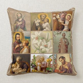 St. Joseph Child Jesus Collage Lily Throw Pillow
