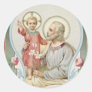 St. Joseph, Child Jesus, Lily Roses Classic Round Sticker