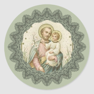 St. Joseph, Child Jesus, Lily Staff Classic Round Sticker