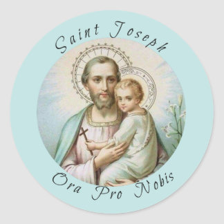 St. Joseph, Child Jesus, Lily Staff, Cross Classic Round Sticker