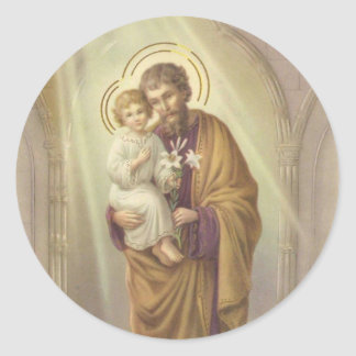 St. Joseph, Child Jesus, Lily Vintage Classic Round Sticker