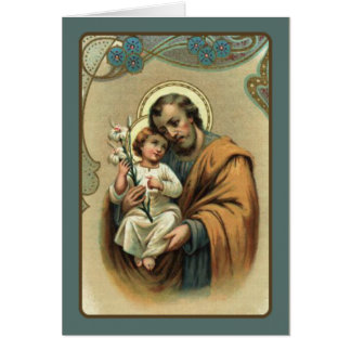 St. Joseph  FATHER'S DAY Baby Jesus Lily Card