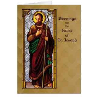 St. Joseph Feast with Wheat Staff on Brown Card