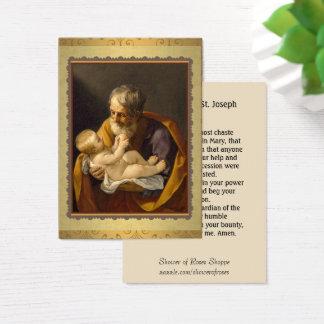 St. Joseph holding the baby Jesus  Memorare Prayer Business Card