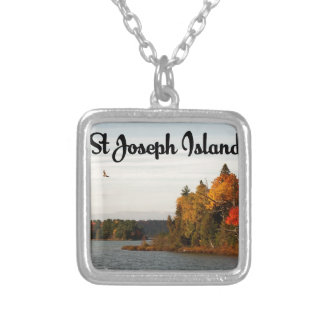 St Joseph Island lake view Silver Plated Necklace