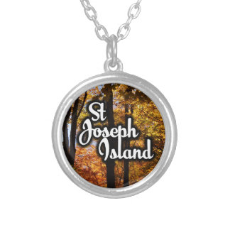 St Joseph Island Maple trees Silver Plated Necklace