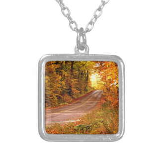 St Joseph Island Maples in Fall Colour Silver Plated Necklace