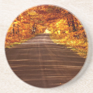 St Joseph Island roadway in full Fall colour Beverage Coasters