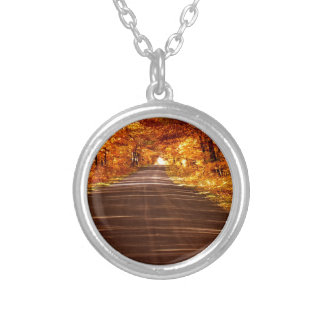 St Joseph Island roadway in full Fall colour Silver Plated Necklace