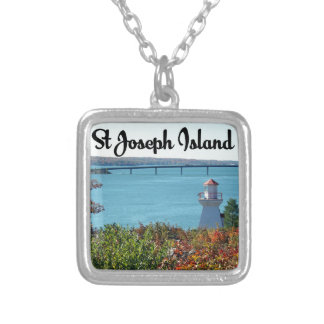 St Joseph Island view Silver Plated Necklace