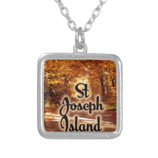 St Joseph Island with fall colours Silver Plated Necklace