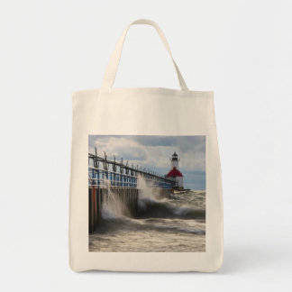 St Joseph Lighthouse and Pier Grocery Tote Bag