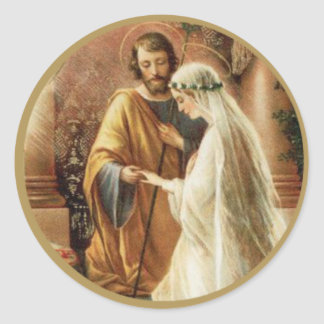 St. Joseph Mary Engagement Wedding Bride Groom Classic Round Sticker