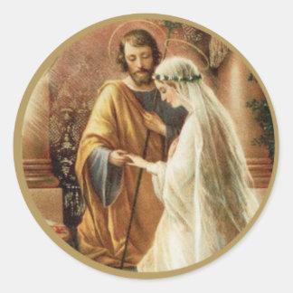 St. Joseph Mary Engagement Wedding Bride Groom Round Sticker