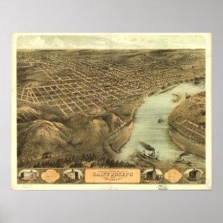 St. Joseph Missouri 1868 Antique Panoramic Map Poster