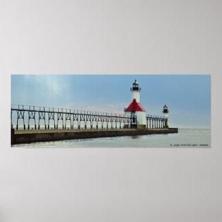 St. Joseph North Pier Lights, Michigan Poster