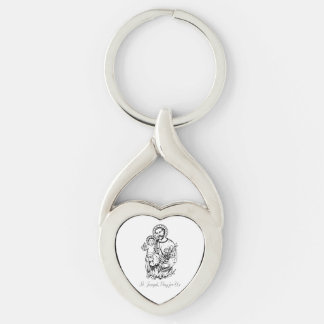St. Joseph Pray for Us Black,  White, Catholic Silver-Colored Twisted Heart Key Ring