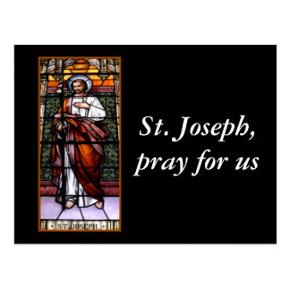 St Joseph pray for us - stained glass window Postcard