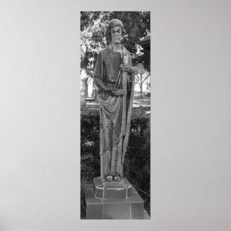 St. Joseph Statue Black And White Photograph Poster
