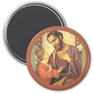St. Joseph with Child Jesus Lily 7.5 Cm Round Magnet