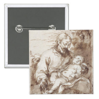 St. Joseph with the Sleeping Christ Child (pen & b Buttons