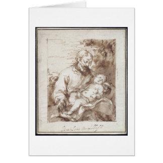 St. Joseph with the Sleeping Christ Child (pen & b Card