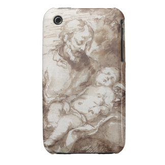 St. Joseph with the Sleeping Christ Child (pen & b iPhone 3 Cover