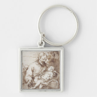 St. Joseph with the Sleeping Christ Child (pen & b Keychain