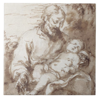 St. Joseph with the Sleeping Christ Child (pen & b Large Square Tile