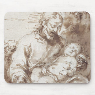 St. Joseph with the Sleeping Christ Child (pen & b Mouse Pad