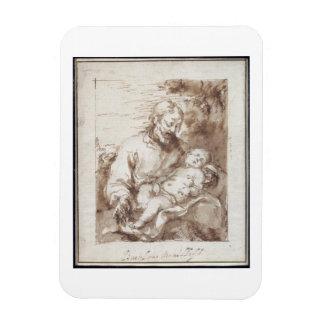 St. Joseph with the Sleeping Christ Child (pen & b Vinyl Magnets