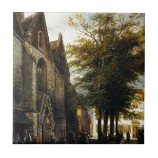 St. Josephs Church in Hamelen by Cornelis Springer Small Square Tile