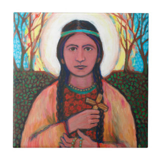 "St Kateri Tekakwitha Ceramic Tile (4.25"" x 4.25"")"