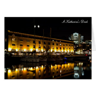 St Katherines Dock London night View Card