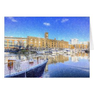 St Katherines Dock London Snow Card