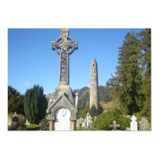 St Kevin's Cross and Round Tower Glendalough 13 Cm X 18 Cm Invitation Card