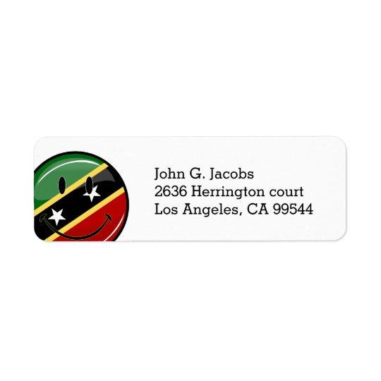 St. Kitts and Nevis Smiling Face Flag Return Address Label