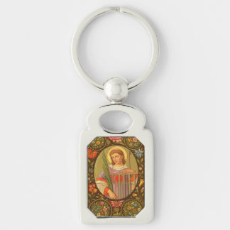 St. Lawrence of Rome (PM 04) Silver-Colored Rectangle Key Ring