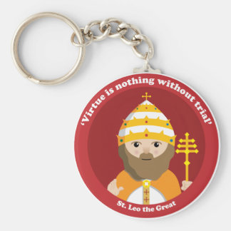 St. Leo the Great Basic Round Button Key Ring