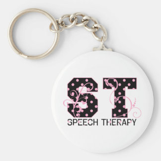 st letters black and pink polka dots key ring