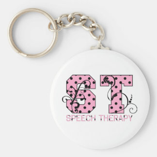 st letters pink and black polka dots basic round button key ring