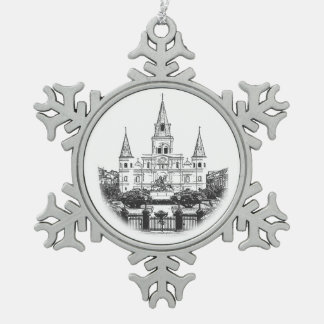 St. Louis Cathedral Sketch Christmas Snowflake Pewter Christmas Ornament