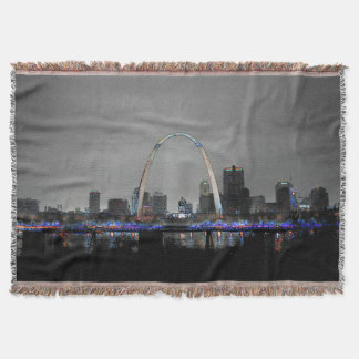 St. Louis City Skyline at Night Art on a Blanket