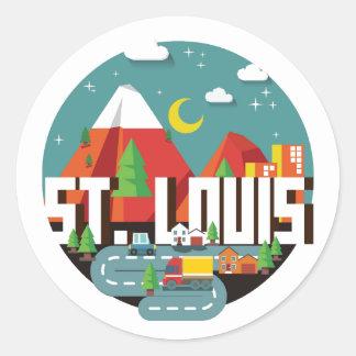 St. Louis, Missouri Geometric Design Classic Round Sticker