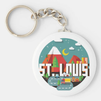 St. Louis, Missouri Geometric Design Key Ring