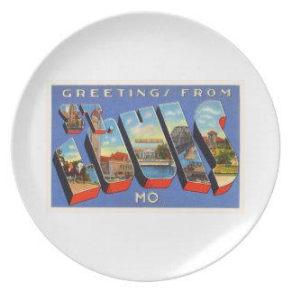 St Louis Missouri MO Old Vintage Travel Souvenir Party Plate