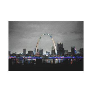 St. Louis Skyline Art B/W w/selective color Canvas Print